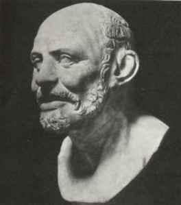 """Demócrito, 460-370 a. C., filósofo griego presocrático. Se le llama también """"el filósofo que se ríe""""."""