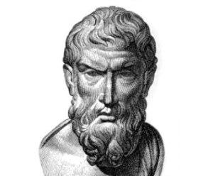 Epicuro, filósofo griego, aproximadamente 341-270 a. C. Los aspectos más destacados de su doctrina son el hedonismo racional y el atomismo.