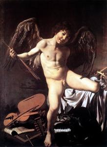 Amor Vincit Omnia ('Amor lo conquista todo'), una representación del dios del amor, Eros, por Caravaggio, c. 1601–1602.