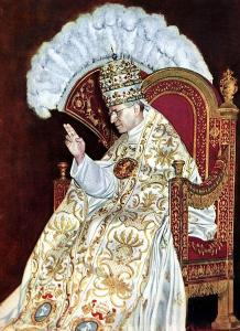 El papa en su silla pontificia