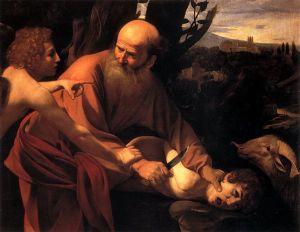 Abraham, a punto de sacrificar a su hijo Isaac, es interrumpido por un ángel, Caravaggio (1590-1610), Los Oficios, Florencia.