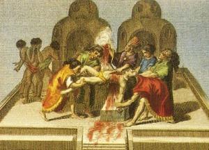 Para los aztecas la religión se hallaba unida a la guerra,sobre todo por la necesidad de hacer sacrificios humanos a los dioses.