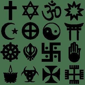 Algunos símbolos religiosos. Comenzando por arriba a la izquierda y siguiendo hacia la derecha: cristianismo, judaísmo, hinduismo, bahaísmo, islamismo, neopaganismo, taoísmo, sintoísmo, budismo, sijismo, brahmanismo, yainismo, ayyavazhi, wicca, templarios e iglesia nativa polaca.