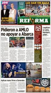 Portada diario Reforma domingo 26 de octubre de 2014