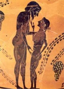 Cerámica griega, un adulto y su joven amante