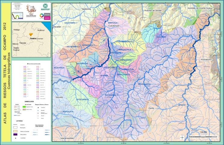 Municipio de Tetela con su red hidrográfica
